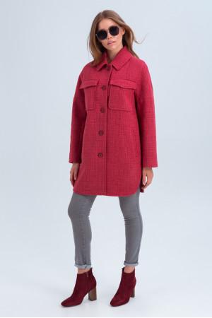 Жіноче пальто-сорочка «Майлі» коралового кольору