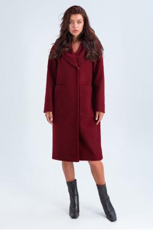 Женское пальто «Лаура» бордового цвета