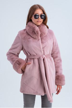 Жіноча шуба «Патрисія» рожевого кольору