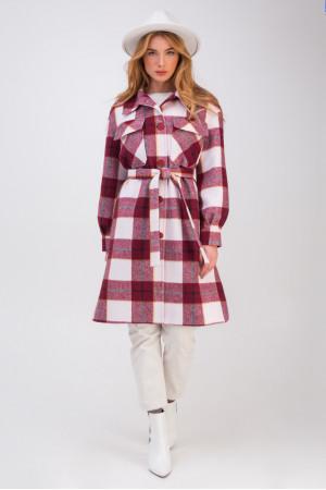 Жіноче пальто-сорочка «Еван» бордового кольору