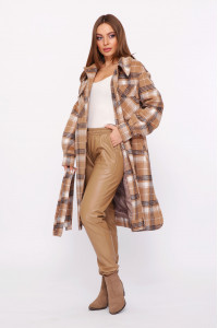 Женское пальто-рубашка «Эван» бежево-коричневого цвета