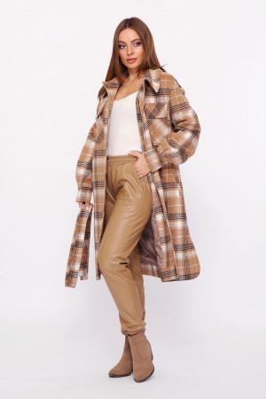 Жіноче пальто-сорочка «Еван» бежево-коричневого кольору
