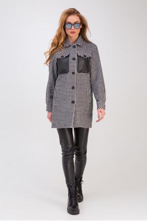 Женское пальто-рубашка «Кьяра» черно-белого цвета
