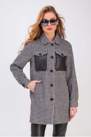 Жіноче пальто-сорочка «Кьяра» чорно-білого кольору