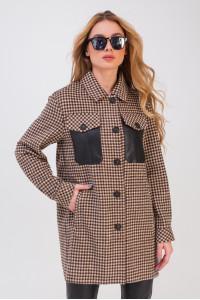 Жіноче пальто-сорочка «Кьяра» коричневого кольору