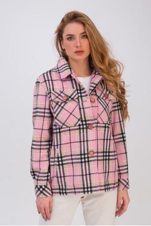 Жіноче напівпальто-сорочка «Флоранс» рожевого кольору