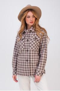 Жіноче напівпальто-сорочка «Флоранс» кавового кольору