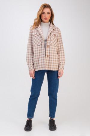 Жіноче напівпальто-сорочка «Флоранс» світло-бежевого кольору