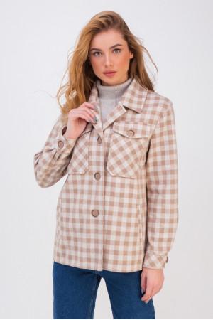 Женское полупальто-рубашка «Флоранс» светло-бежевого цвета
