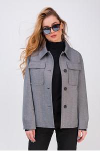 Женское пальто-рубашка «Алин» черно-белого цвета