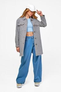 Женское пальто-рубашка «Рикки» синего цвета