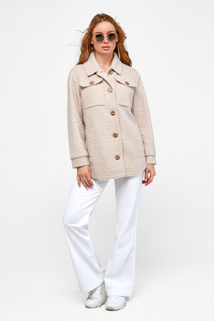 Жіноче пальто-сорочка «Ейда» бежевого кольору з малюнком-ялинка