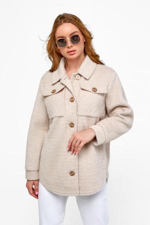Женское пальто-рубашка «Эйда» бежевого цвета с рисунком-елочка