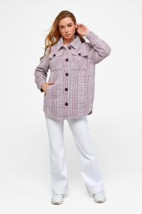 Жіноче пальто-сорочка «Ейда» кольору марсала в клітинку