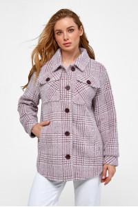 Женское пальто-рубашка «Эйда» цвета марсала в клеточку