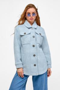 Женское пальто-рубашка «Эйда» голубого цвета в клеточку
