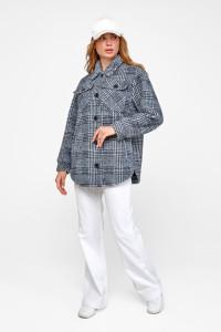Жіноче пальто-сорочка «Ейда» синього кольору в клітинку