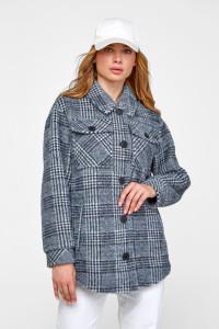Женское пальто-рубашка «Эйда» синего цвета в клеточку