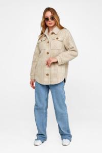 Жіноче пальто-сорочка «Ейда» бежевого кольору в клітинку
