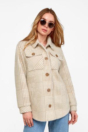 Женское пальто-рубашка «Эйда» бежевого цвета в клеточку
