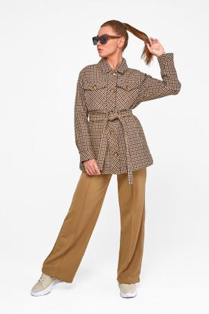 Женское пальто-рубашка «Линн» коричневого цвета