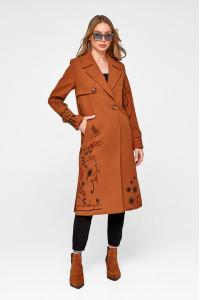 Жіноче пальто «Доллі» коньячного кольору