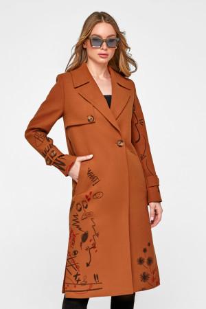 Женское пальто «Долли» коньячного цвета