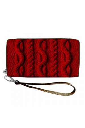 Гаманець «В'язаний візерунок» червоного кольору (еко-шкіра)