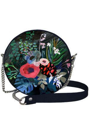 Кругла сумка «Квіти» (Tablet) темно-синього кольору
