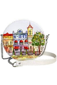 Кругла сумка «Подорож» (Tablet) білого кольору