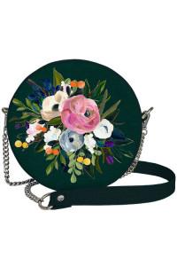 Кругла сумка «Квіти» (Tablet) темно-зеленого кольору