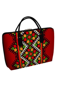Тканевая сумка «Розовая вышиванка» (Саквояж) красного цвета