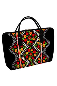 Тканевая сумка «Розовая вышиванка» (Саквояж) черного цвета