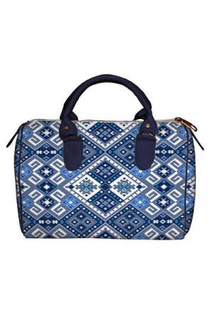 Сумка-бочечка «Синій орнамент»