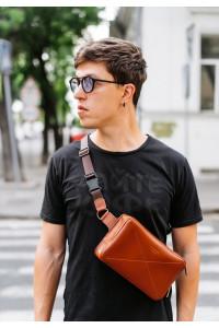 Поясна сумка «Дроп максі» кольору коньяк