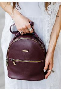 Шкіряний рюкзак «Кайлі» кольору марсала