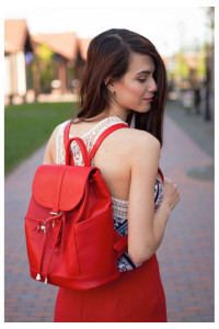 Шкіряний рюкзак «Олсен» червоного кольору
