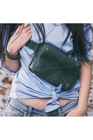 Поясна сумка «Дроп міні» кольору смарагд