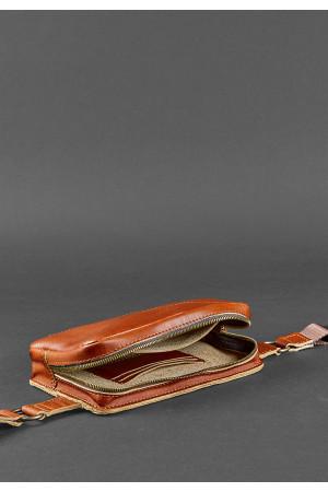 Поясна сумка «Дроп міні» кольору коньяк