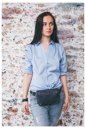 Поясная сумка «Дроп мини» синего цвета