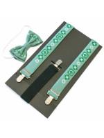 Комплект для хлопчика: краватка-метелик та підтяжки оливкового кольору