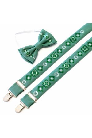 Комплект для мальчика: галстук-бабочка и подтяжки оливкового цвета