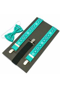 Комплект для хлопчика: краватка-метелик та підтяжки м'ятного кольору