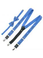 Підлітковий комплект: краватка-метелик та підтяжки блакитного кольору