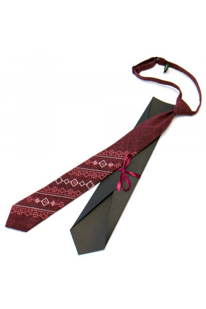 Підліткова краватка «Квітан» бордового кольору
