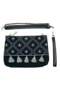 Вишита сумка чорного кольору «Дзвіночок»