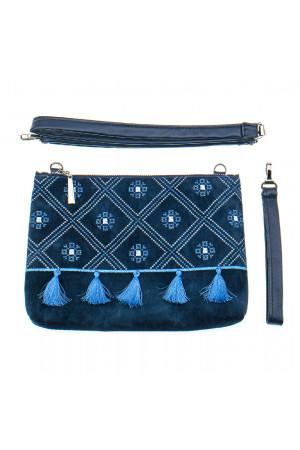 Вишита сумка синього кольору «Дзвіночок»