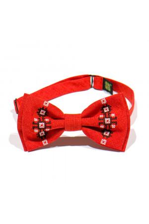 Підлітковий комплект: краватка-метелик та підтяжки червоного кольору