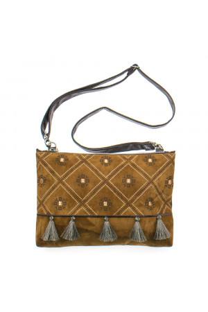 Вишита сумка коричневого кольору «Дзвіночок»