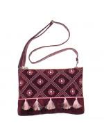 Вишита сумка вишневого кольору «Дзвіночок»